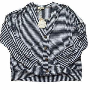 Umgee Royal Blue White Striped Oversized Cardigan